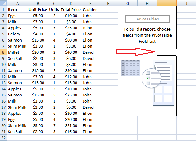 Click On PivotTable, Excel