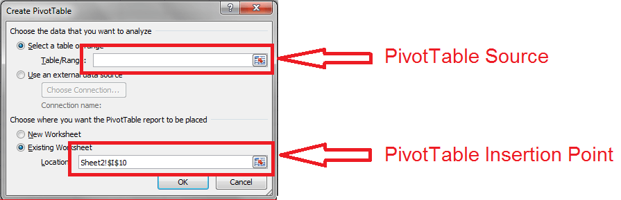 Creat PivotTable Dialog Excel