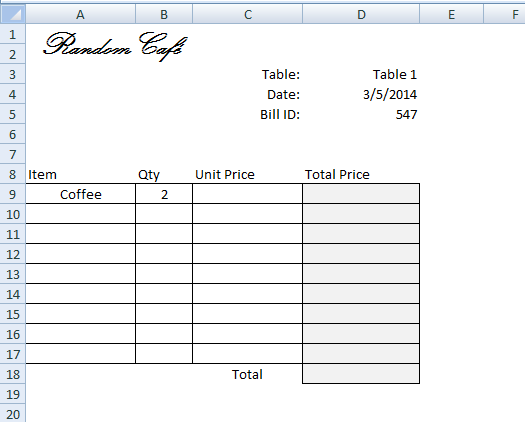Drink Bill, VLOOKUP, Excel, Invoice  How To Make A Invoice In Excel