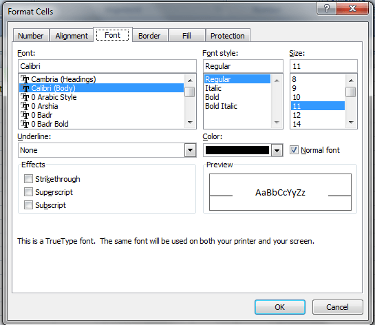 convert excel to pdf font change