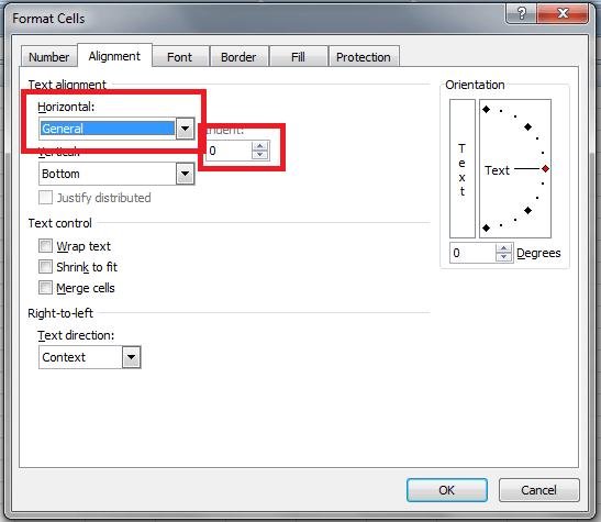 Excel Formatting, Alignment, Horizontal Alignment