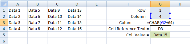 Excel, Formulas and Functions, INDIRECT, Example 2 G3