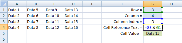 Excel, Formulas and Functions, INDIRECT, Example 2 G4