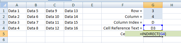 Excel, Formulas and Functions, INDIRECT, Example 2 G5