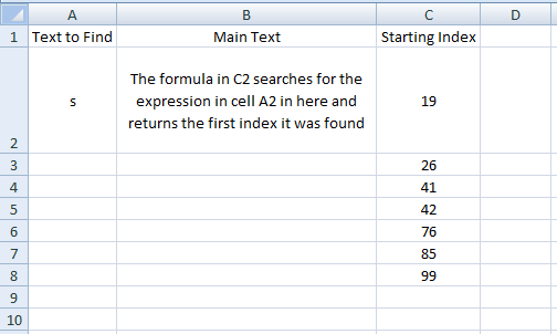 Excel, Formulas, Find, All Occurance 2