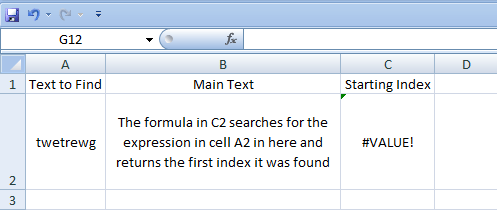 Excel, Formulas, Find, Result not found