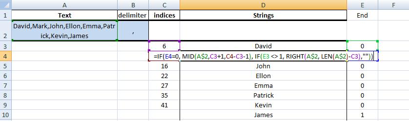 Excel, Formulas, Sample1, Step4, Get Next String