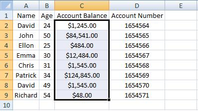 Excel, INDEX, Example 3 Sheet 2 Account Balance Range