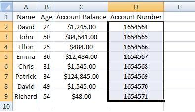 Excel, INDEX, Example 3 Sheet 2 Account Number Range