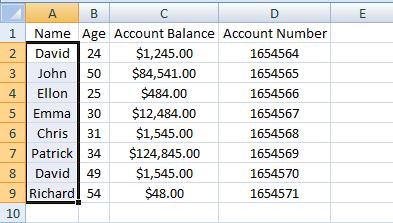 Excel, INDEX, Example 3 Sheet 2 Name Range