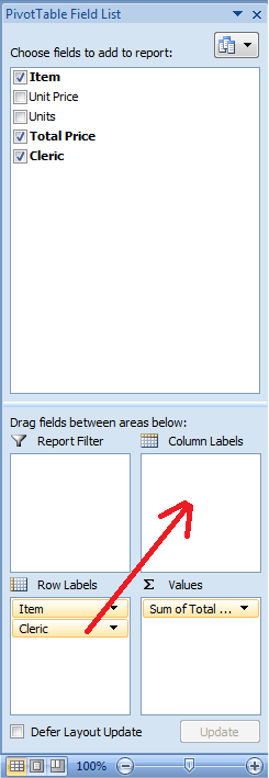 Excel, Pivot Table, Drag Drop Cleric Field to the Columns Label