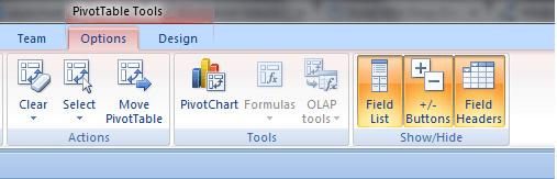 Excel, PivotTable, PivotTable Tools, Option, Field List