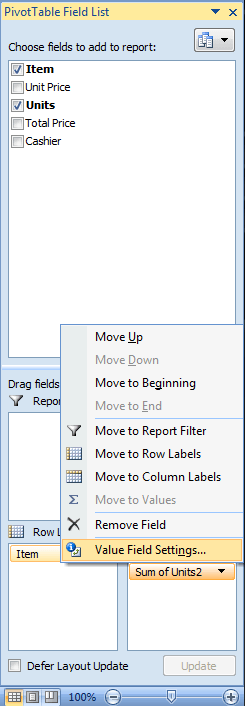 Excel, PivotTable, Value Field Setting
