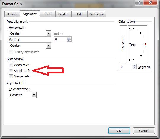 Excel, Shrink to Fit