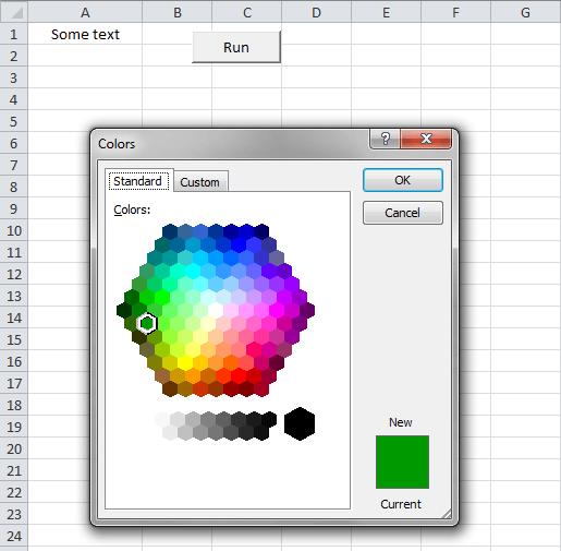Excel, VBA, Color Dialog