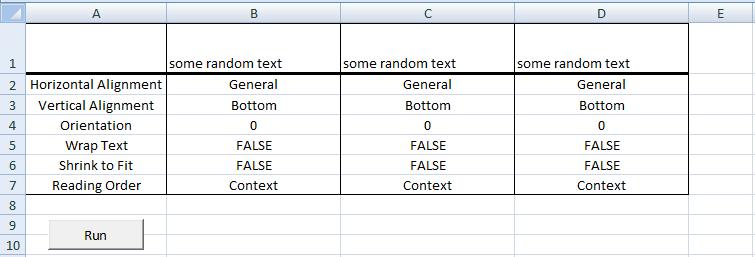 Excel VBA, Default Alignment