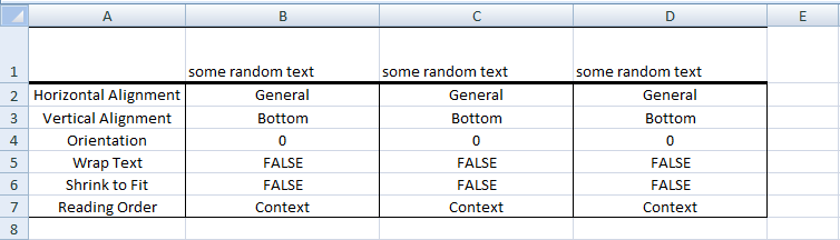 Excel VBA, Default Alignment