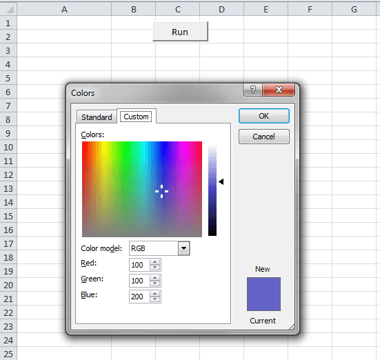 Excel VBA, Dialogs, Color, After Pressing the Run Button