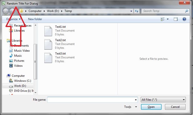 Excel VBA Open File Dialog, Custom Title