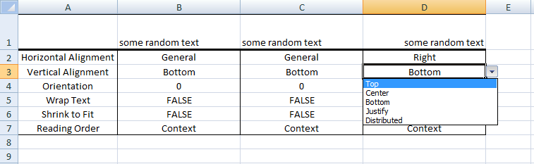 Excel VBA, Vertical Alignment