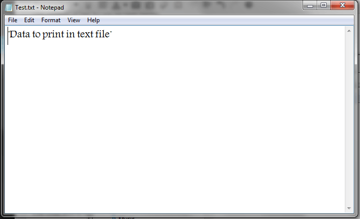 Excel VBA, Writing to Text Files, Example 1, Final Result