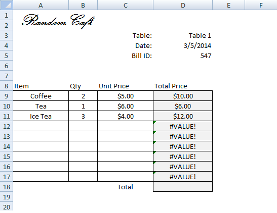 Create Invoice/Bill Using VLOOKUP (Step by Step Tutorial