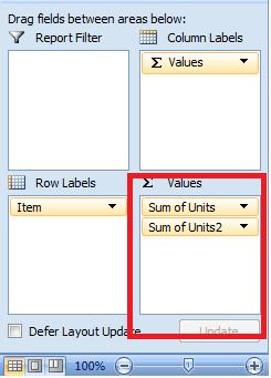 PivotTable Excel, Value Area
