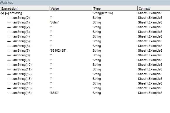 Split String Array in Watch VBA Excel