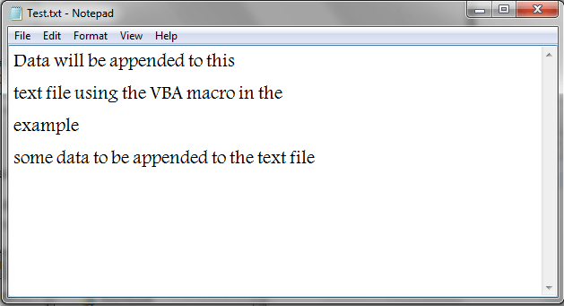 VBA Append Text, Result
