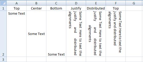 VBA Excel, Vertical Alignment, Result