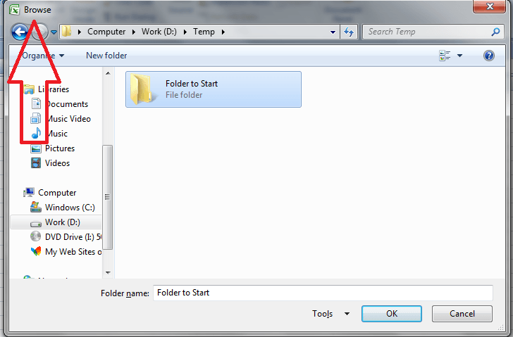VBA Folder Dialog, Example 3 Default Title