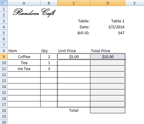 Create invoice bill using vlookup step by step tutorial for 1005 can t create table