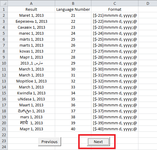 Excel, Date Language Finder, Next Button