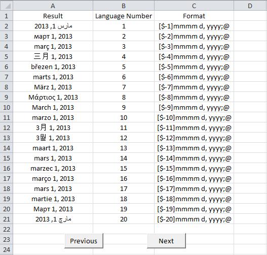 Excel, Date Language Finder