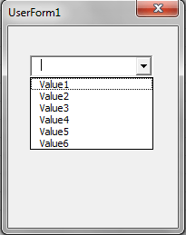 VBA, Drop Down List, 6 Items