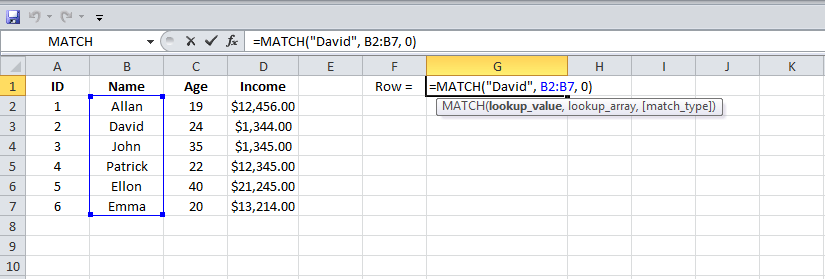 Example 1 Excel MATCH function, 1
