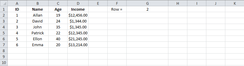 Example 1 Excel MATCH function, Result