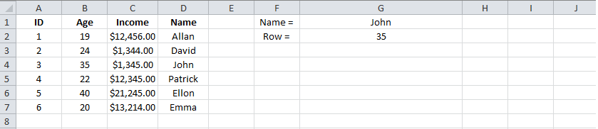 Example 2 Excel MATCH, INDEX, Result. png