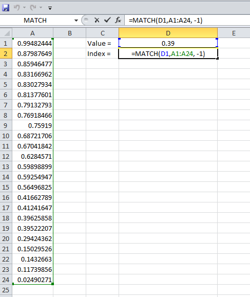 Example 5, Excel, MATCH, Formula