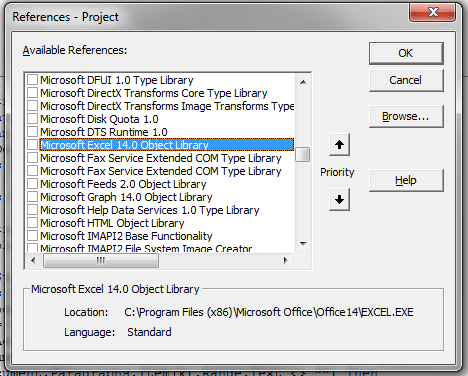 Excel, Automation, Object Library