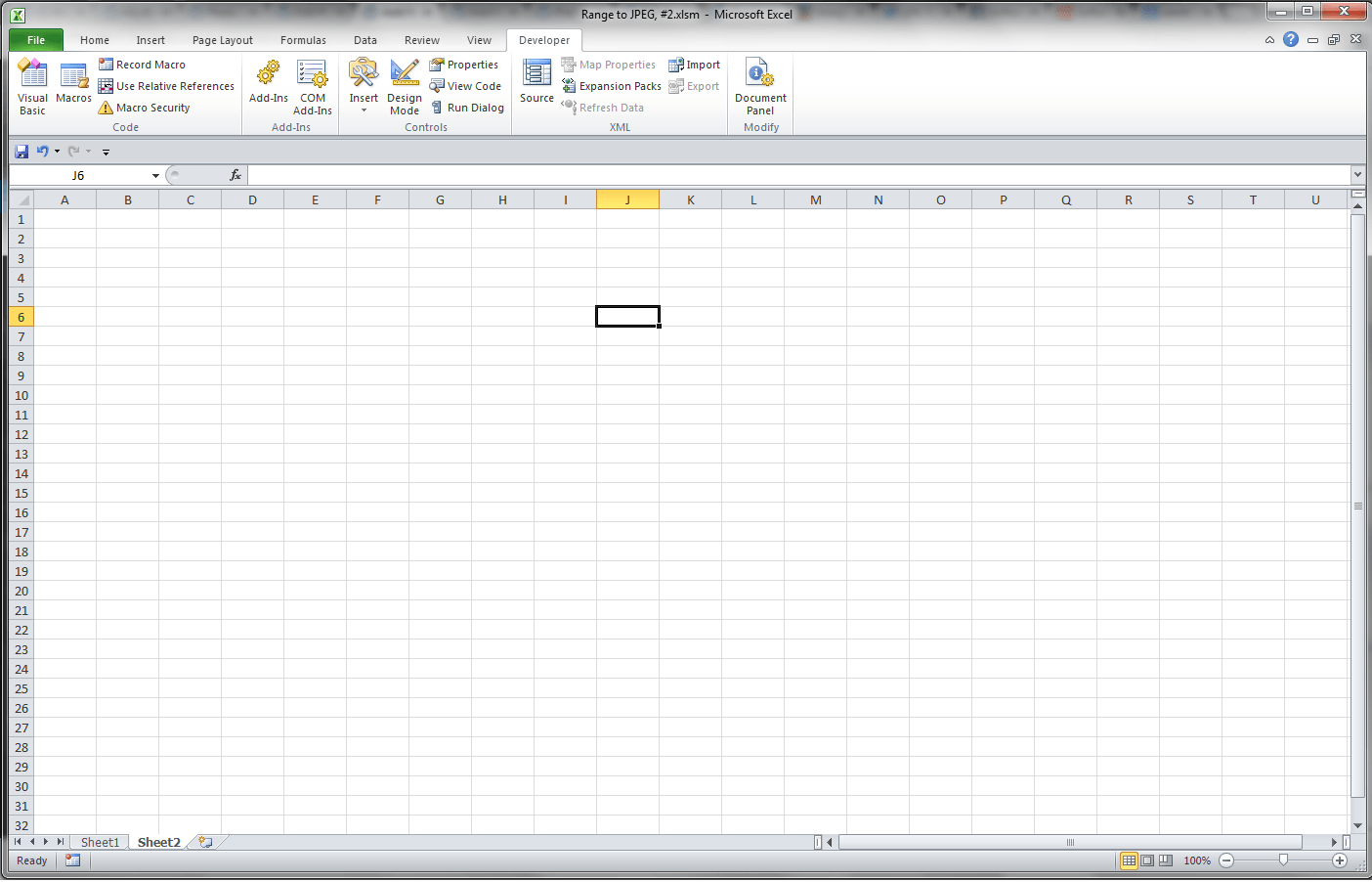 Excel, Empty Application