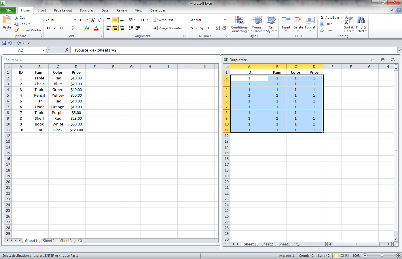 worksheet Link Data In Excel Worksheets excel getting data from another workbook through links vba and vb link multiple cells