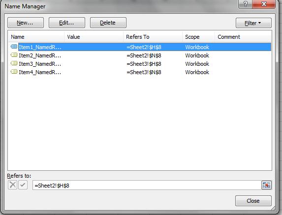 Named Ranges, Excel, HyperLink