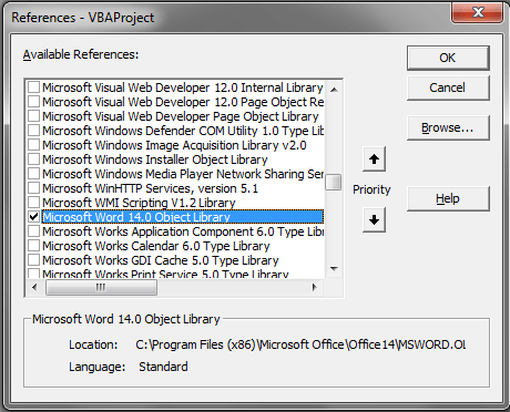 Word VBA, Early Binding, Tools Reference, Word, Object Library