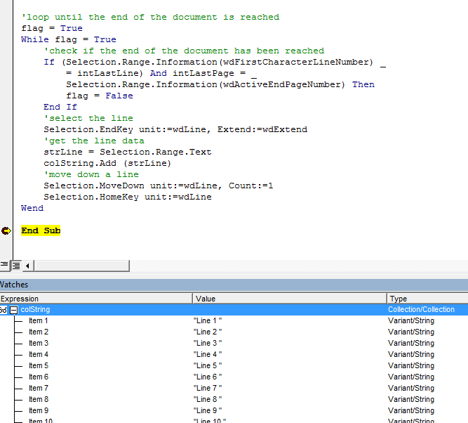 Word VBA Read All Lines Example 2 Result