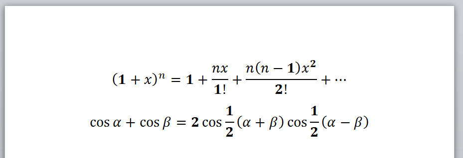 Example 1, Word, VBA Equations After