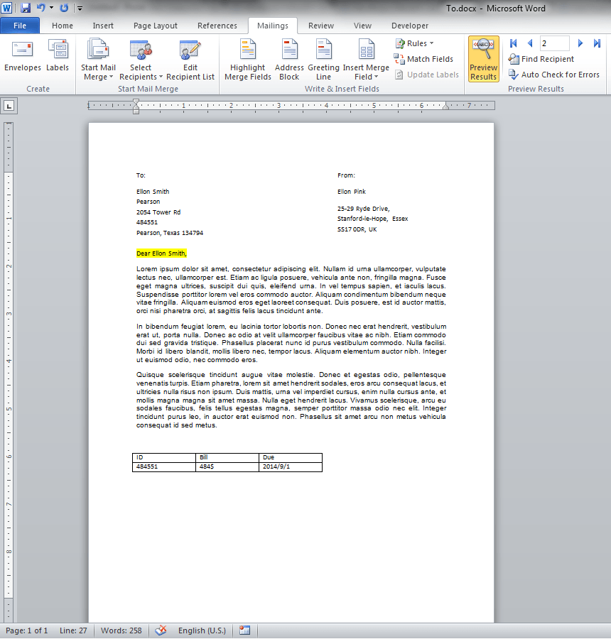 Word Mail Merge