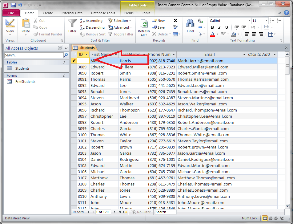 null value in excel