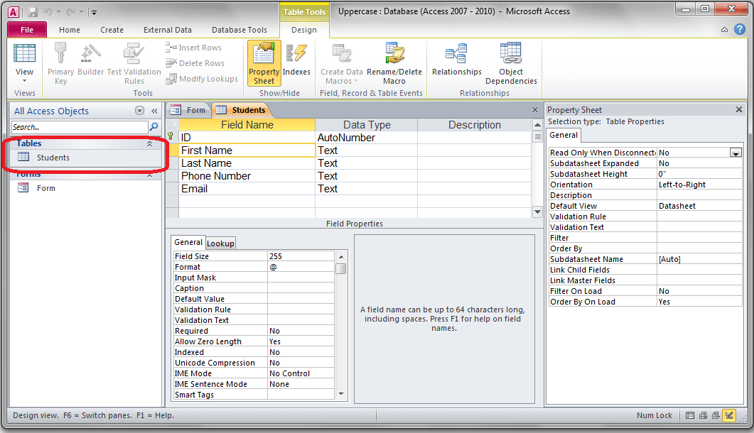 Access convert user input to uppercase vba and vb net for Table design view access
