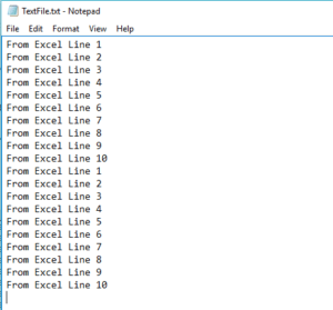 text file after append